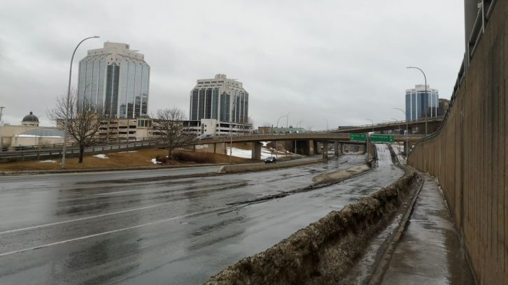 The Cogswell Interchange overpass system, as seen from Barrington Street, will be redeveloped.