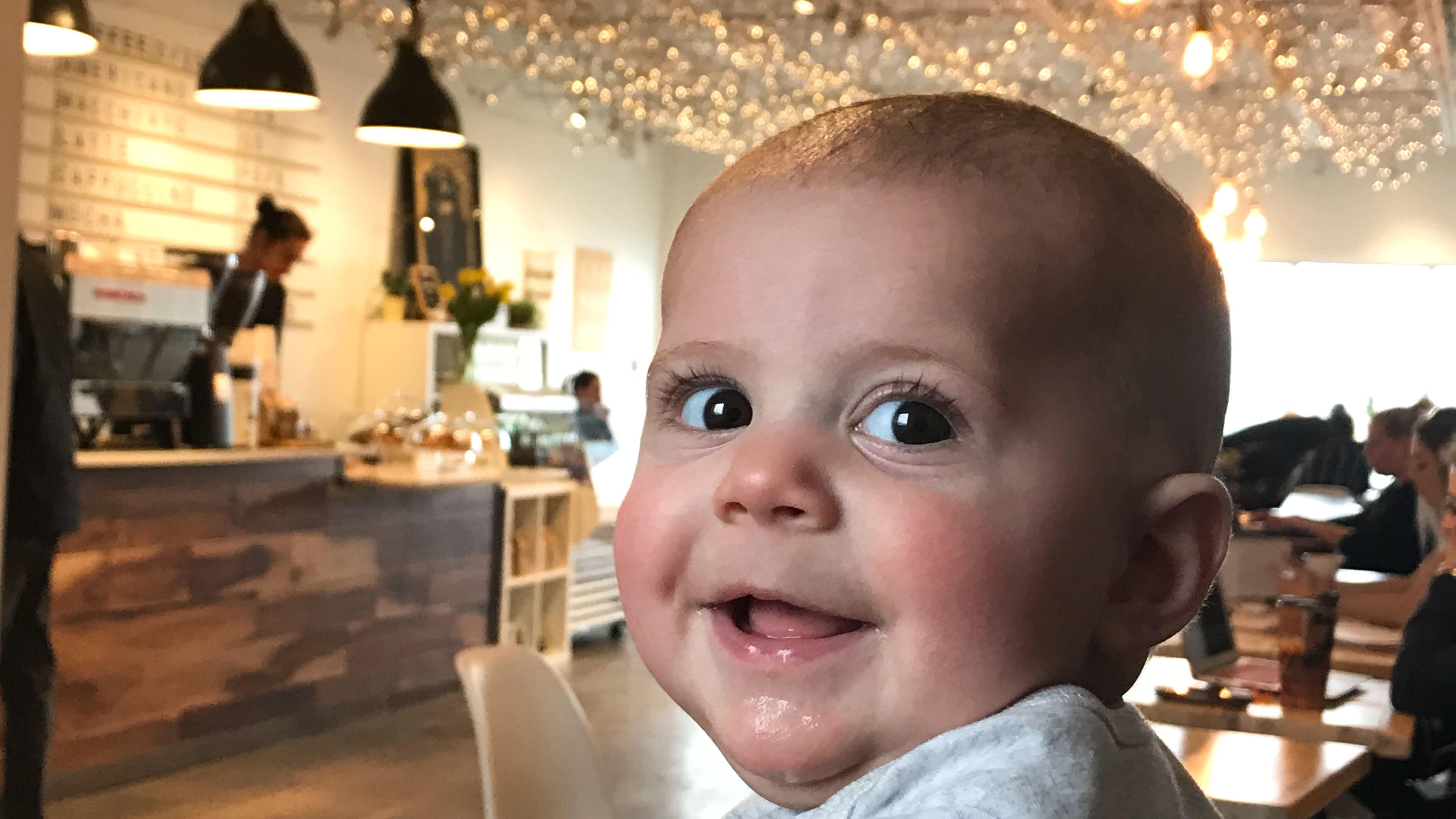 Beau visits the coffee shop where his mother, Natalie Leger, worked and met a doula who offered support.