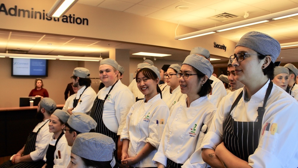 NSCC culinary arts students at Wednesday's announcement at the Akerley campus.