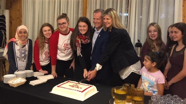 Liberal MP Darren Fisher celebrates his victory.