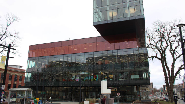 The Halifax Central Library is LEED gold certified. The building uses transparent glass for natural light and harvests rainwater.