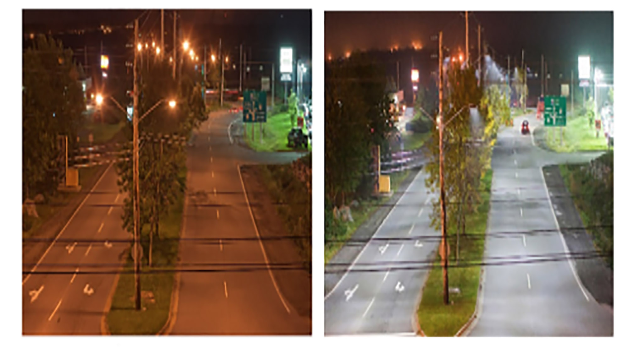 HRM intersection before and after LED streetlights were installed.