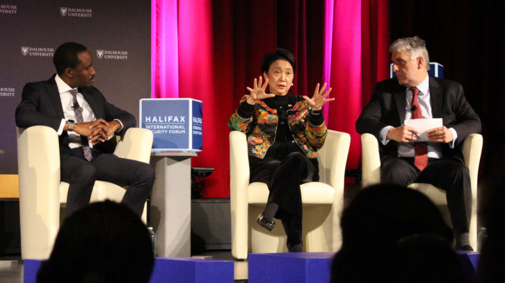 Emily Lau (centre) speaks at the Halifax International Security Forum at Dalhousie University on Thursday.