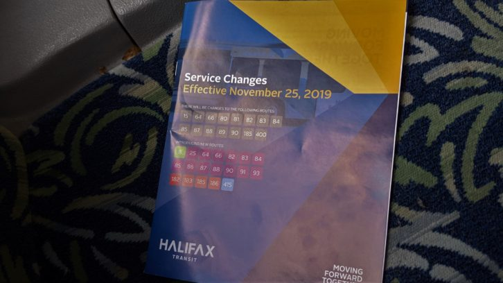 Halifax Transit service changes pamphlet