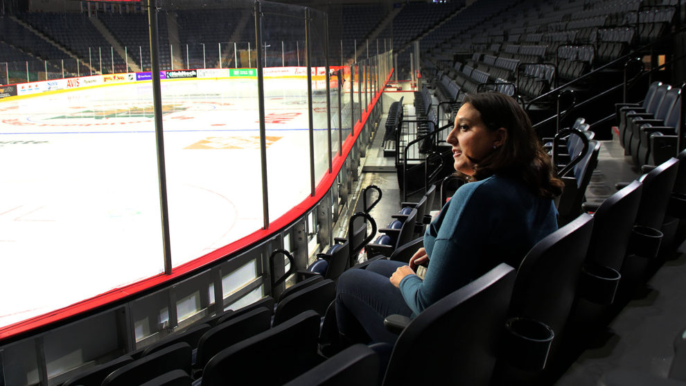 Kristen Libscombe sits in the Scotiabank Centre in Halifax.