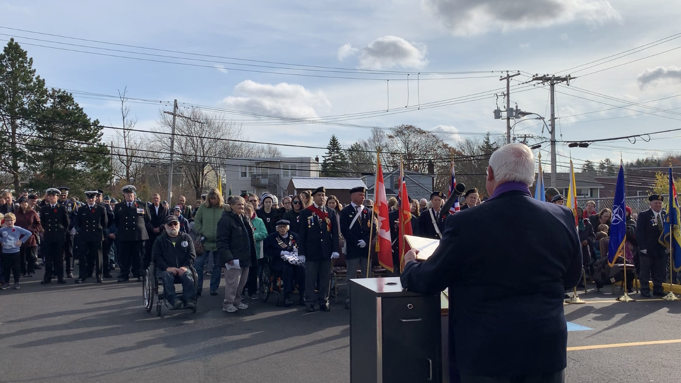 A large crowd turned out for a Remembrance Day ceremony in Spryfield on Nov. 11, 2019.