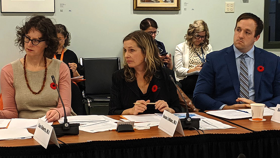 Susan Leblanc (centre) quizzes witnesses at the Standing Committee on Community Services.