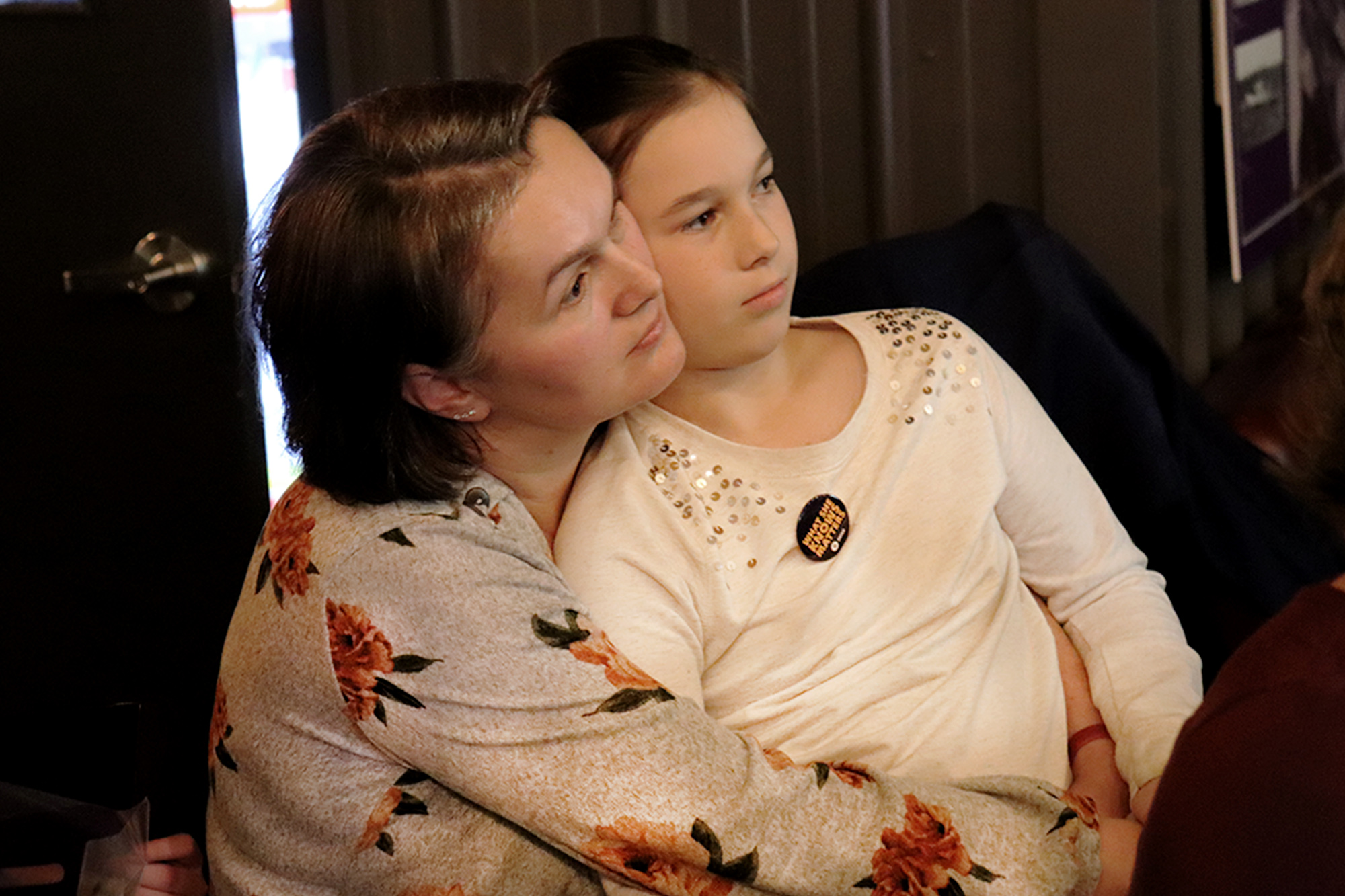 Tanja Matthews and her daughter at the Museum Without A Home exhibit on Nov. 8.