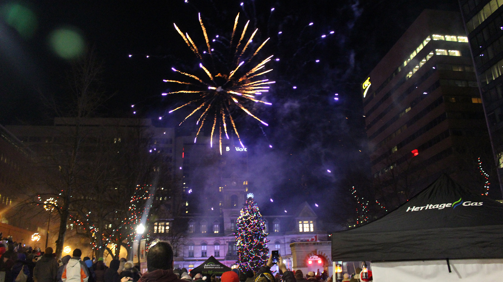 Hundreds watch the fireworks display at the annual Halifax Christmas tree lighting.
