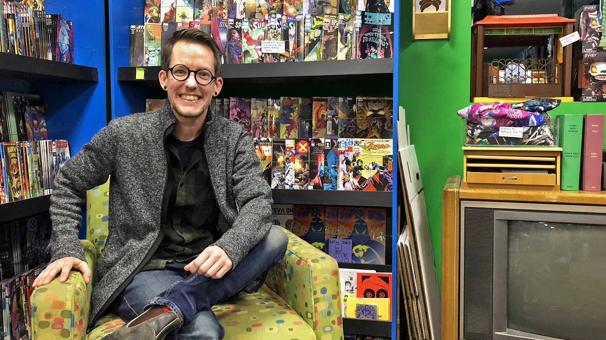 Jay Aaron Roy, owner of Cape and Cowl Collectibles in Lower Sackville, N.S., gets ready to move to a new building, opening on Dec. 14.