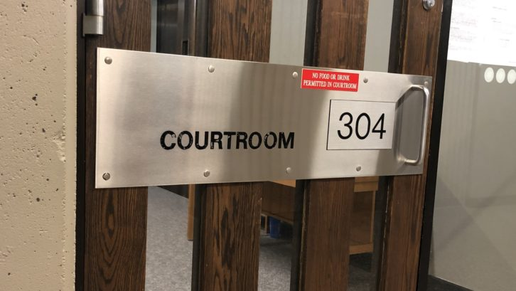 The door to courtroom 304 in the Halifax Law Courts, where Sparks and Ritch are being tried.