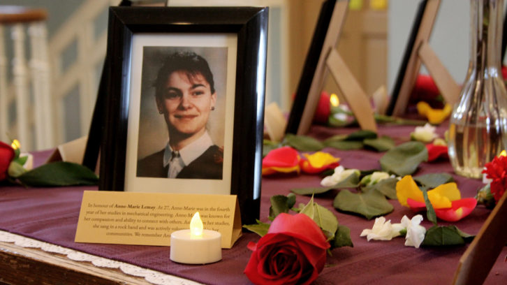 Anne-Marie Lemay was one of 14 women who lost their lives on Dec. 6, 1989. Her picture is displayed at the University of King's College's vigil.