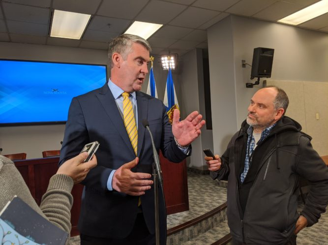 Premier Stephen McNeil at a press conference at 1 Government Place