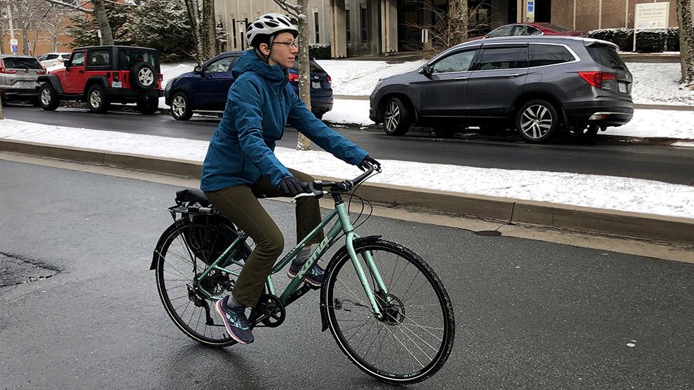 Jillian Banfield cycling near the Dalhousie campus.