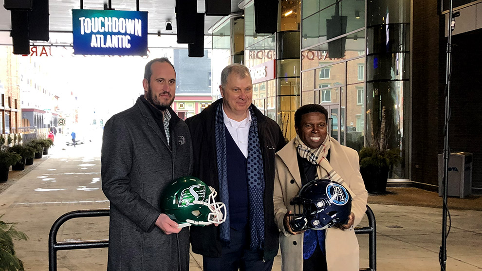 Saskatchewan Roughriders president and CEO Craig Reynolds (left), CFL commissioner Randy Ambrosie (middle) and Toronto Argonauts general manager Michael Clemons (right) at the Touchdown Atlantic press conference.