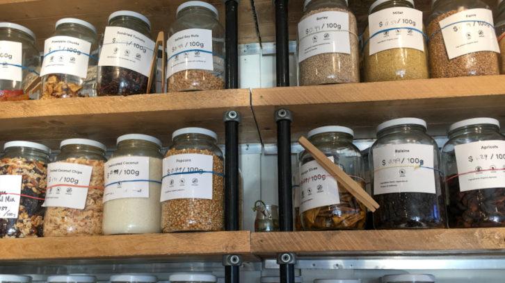 Jars of dried goods at the Tare Shop on Cornwallis Street, Halifax N.S