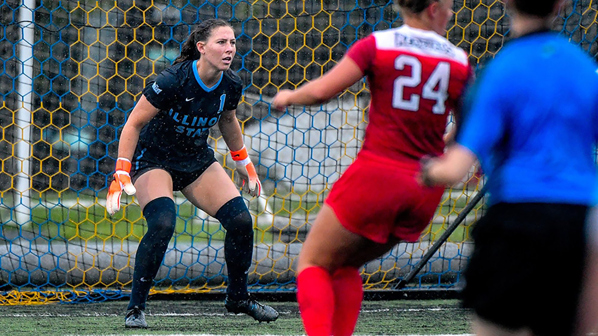 Haley Smith in goal for Illinois State University.