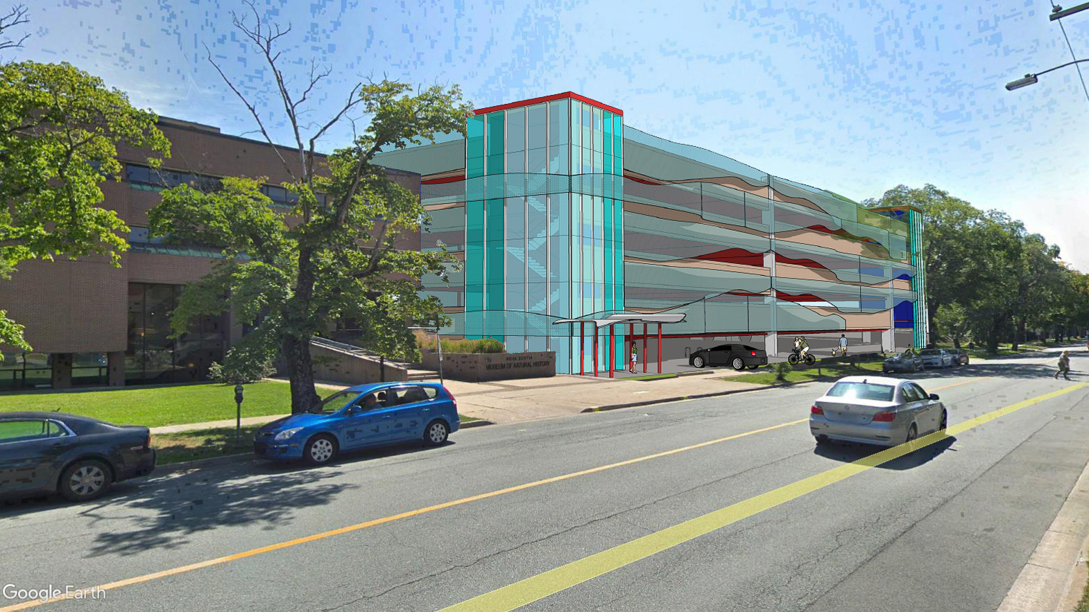 Digital rendering of the proposed hospital parkade on Summer Street beside the Museum of Natural History.