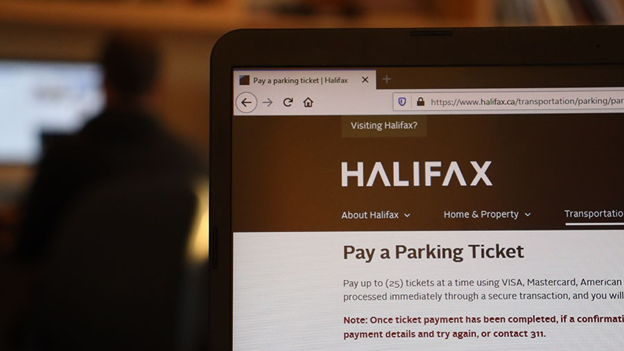 Halifax's online parking ticket payment web page