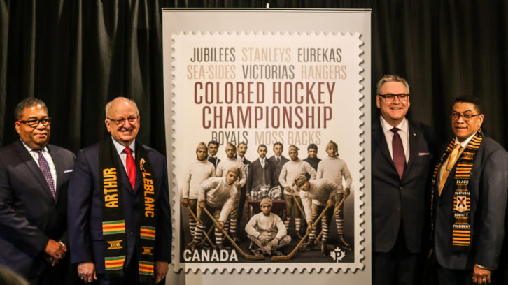 Canada Post unveiled a new stamp on Jan. 23 commemorating the Colored Hockey League.