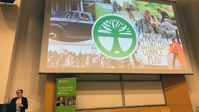Meghan McMorris speaks during a climate crisis lecture at Dalhousie University on Thursday.
