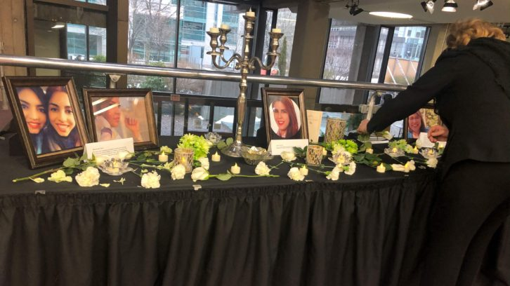 Pictures of victims of Flight PS752 were displayed in Rebecca Cohn Auditorium.