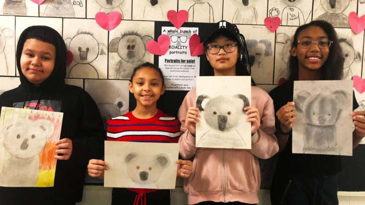 Kalen Burt, Paige Sampson, Mary Xu, Amarah Tupper holding their koala art