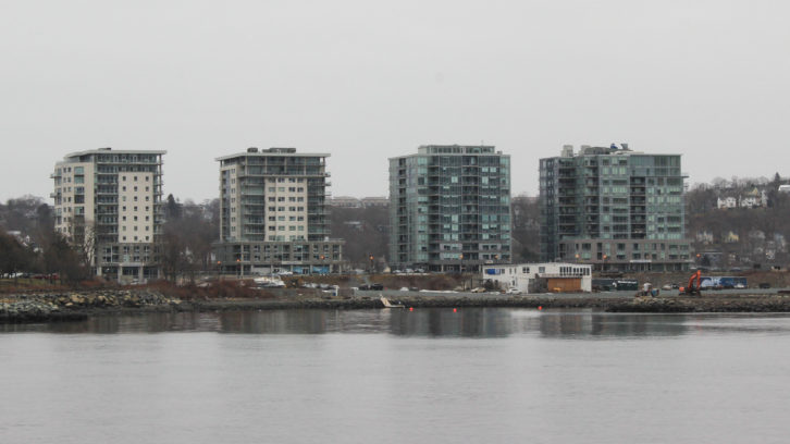 The King's Wharf development site, as seen from Halifax Harbour. The proposal includes 12 additional mixed-use buildings and two public parks.