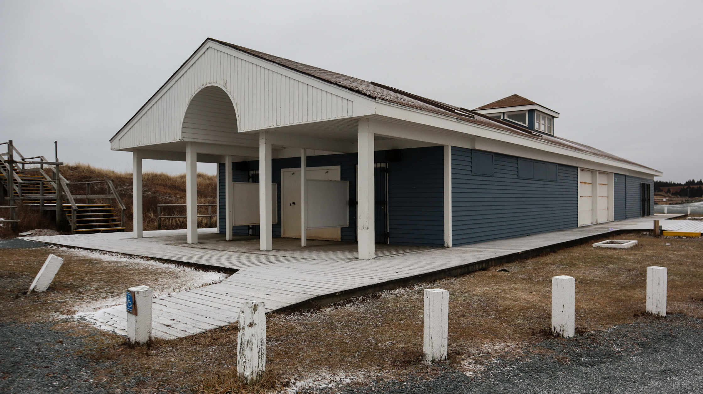 The old building at Lawrencetown Beach is where the current toilets and change rooms are. This building will be demolished when the surfer's beach area is constructed.