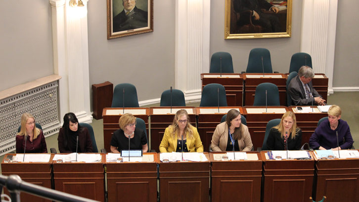 Representatives from the Department of Health and Wellness and the College of Dental Hygienists of Nova Scotia meeting the Standing Committee on Health at the Nova Scotia Legislature