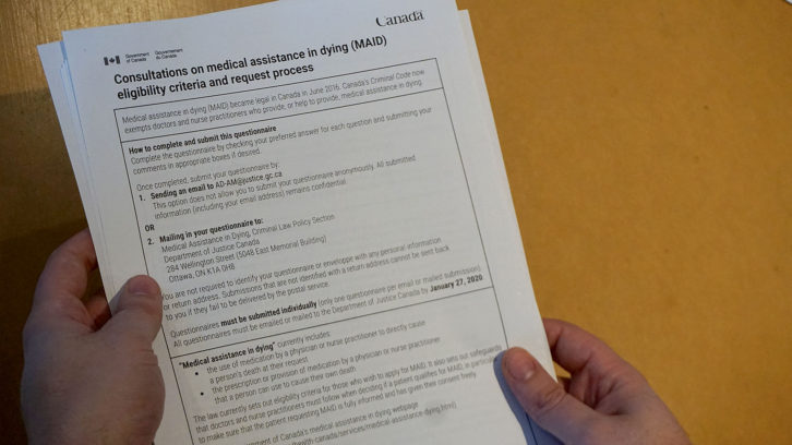 A new questionnaire about medically assisted death laws is open to all Canadians until Jan. 27.
