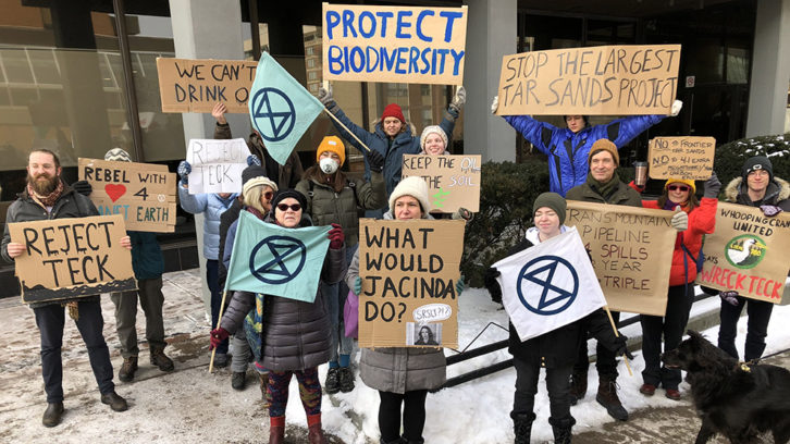 Extinction Rebellion Halifax protests the proposed Teck Frontier oil sands development outside MP Andy Fillmore's office.