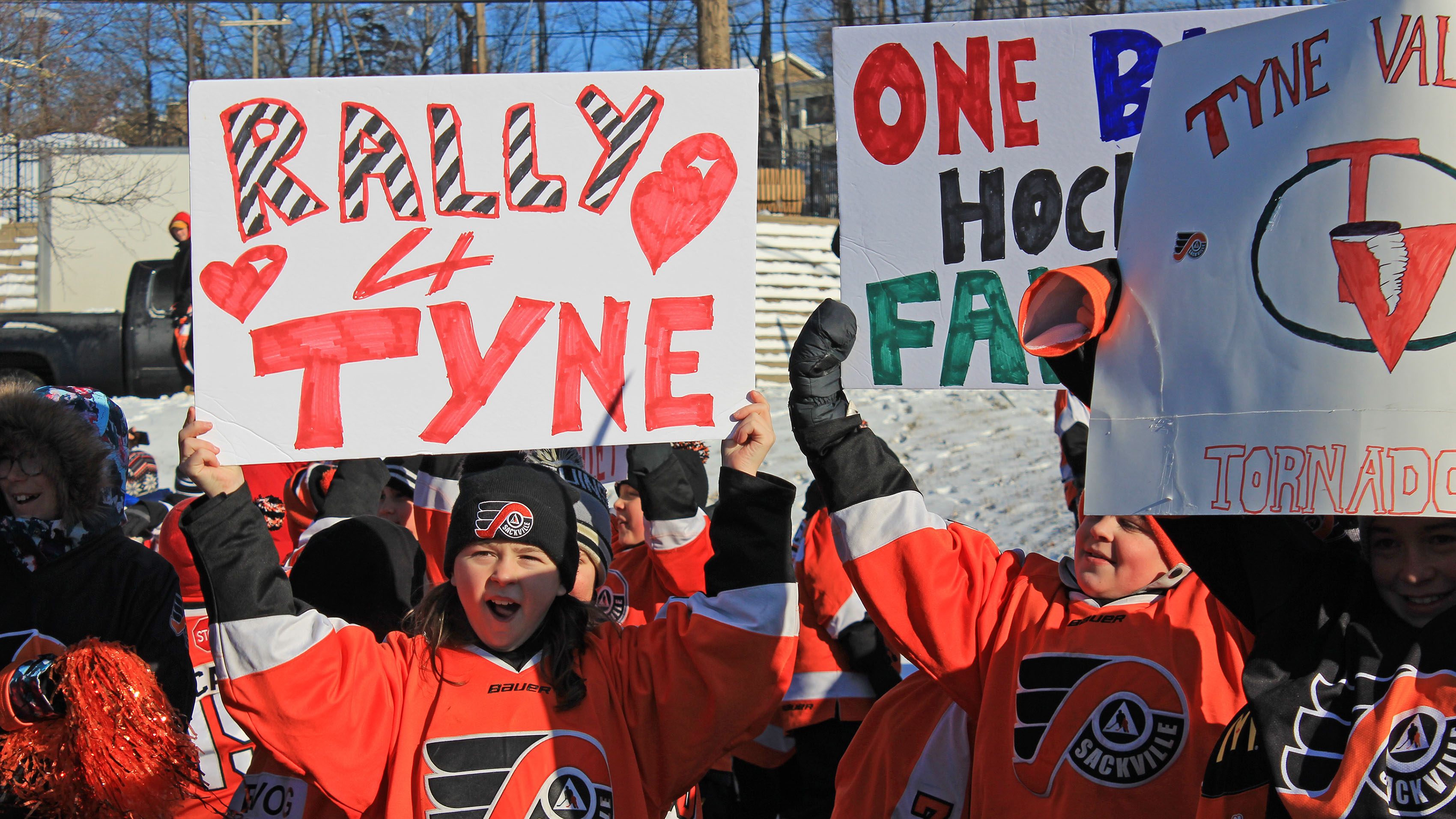 Wearing their team uniforms, hockey players from Sackville Minor Hockey and clubs in neighbouring communities showed up to the rally in full force.