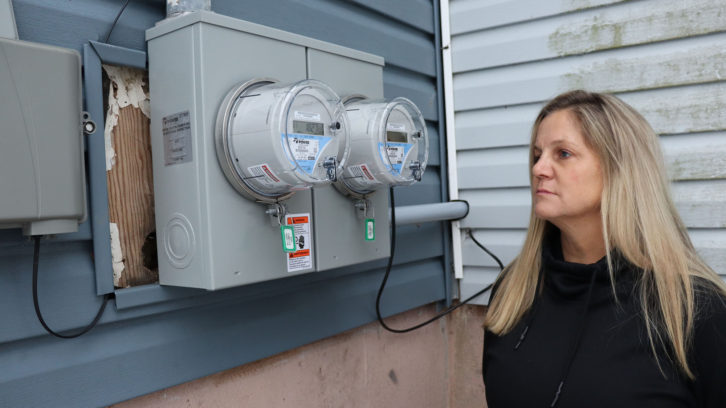 Kira Noble looks at her new smart meter.