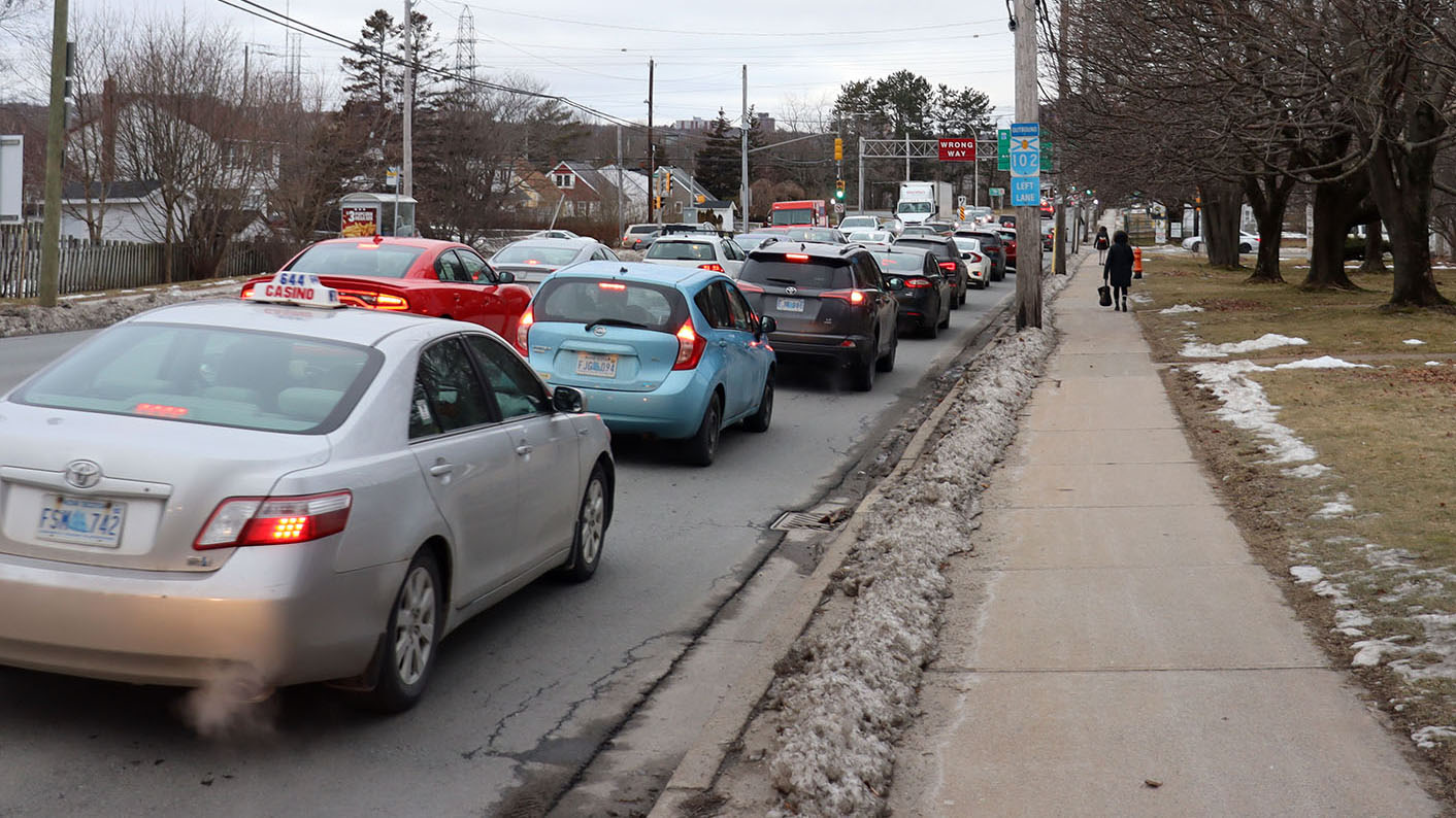 Cars line up at Bayers Road at 5 p.m. HRM is proposing to widen the road to include two new bus lanes.