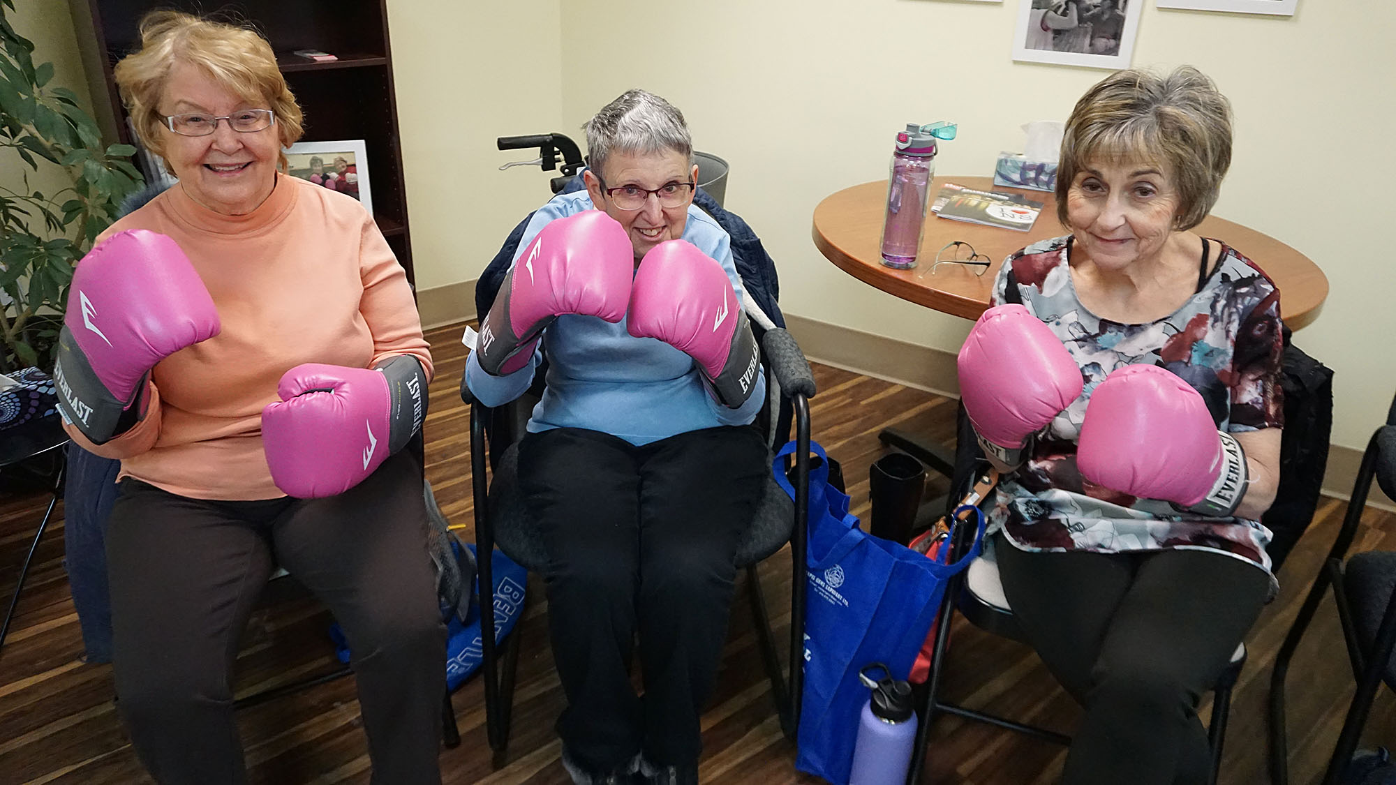 Mary Mclean, Connie Macmillan and Cindy Jussup show off their pink boxing gloves.