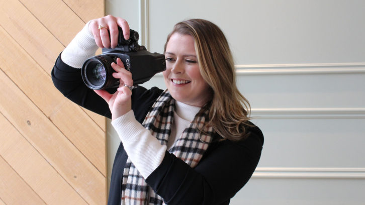 Jacqueline Whitton with her Contax 645 film camera.