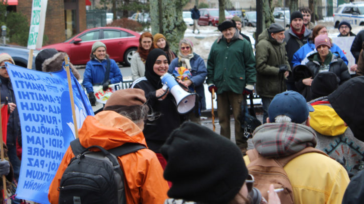 Masuma Khan, along with No Harbour for War, the Halifax Peace Council, the Nova Scotia Voice of Women organized a rally in protest of escalating tensions in the Middle East