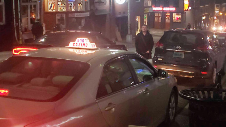 A taxi in downtown Halifax