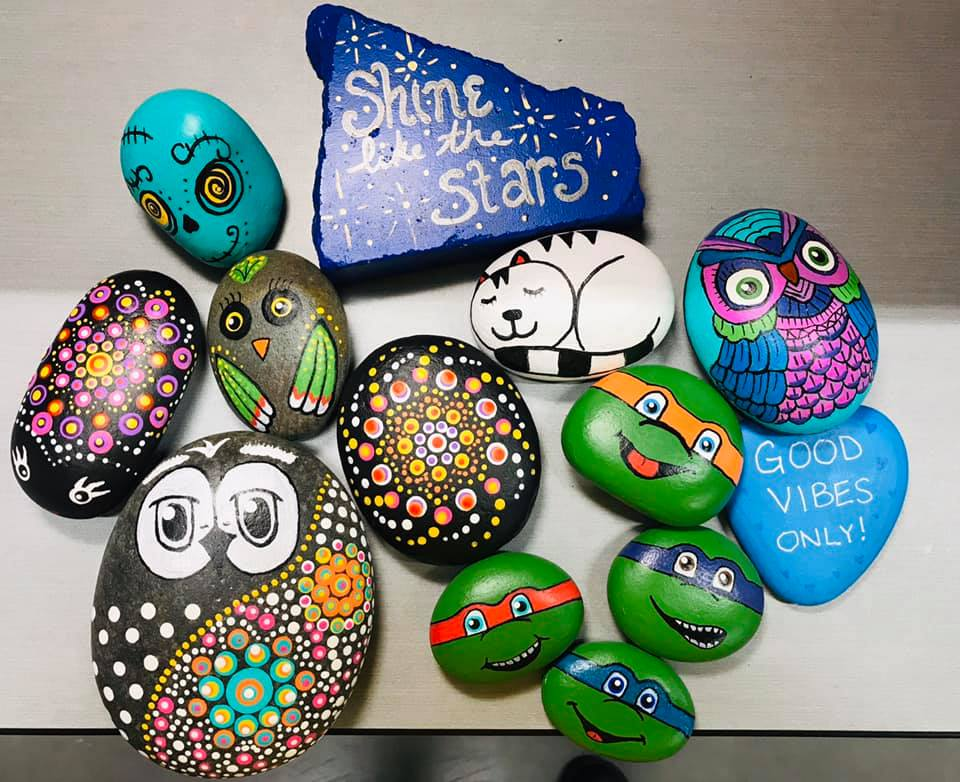 Some of the painted rocks.