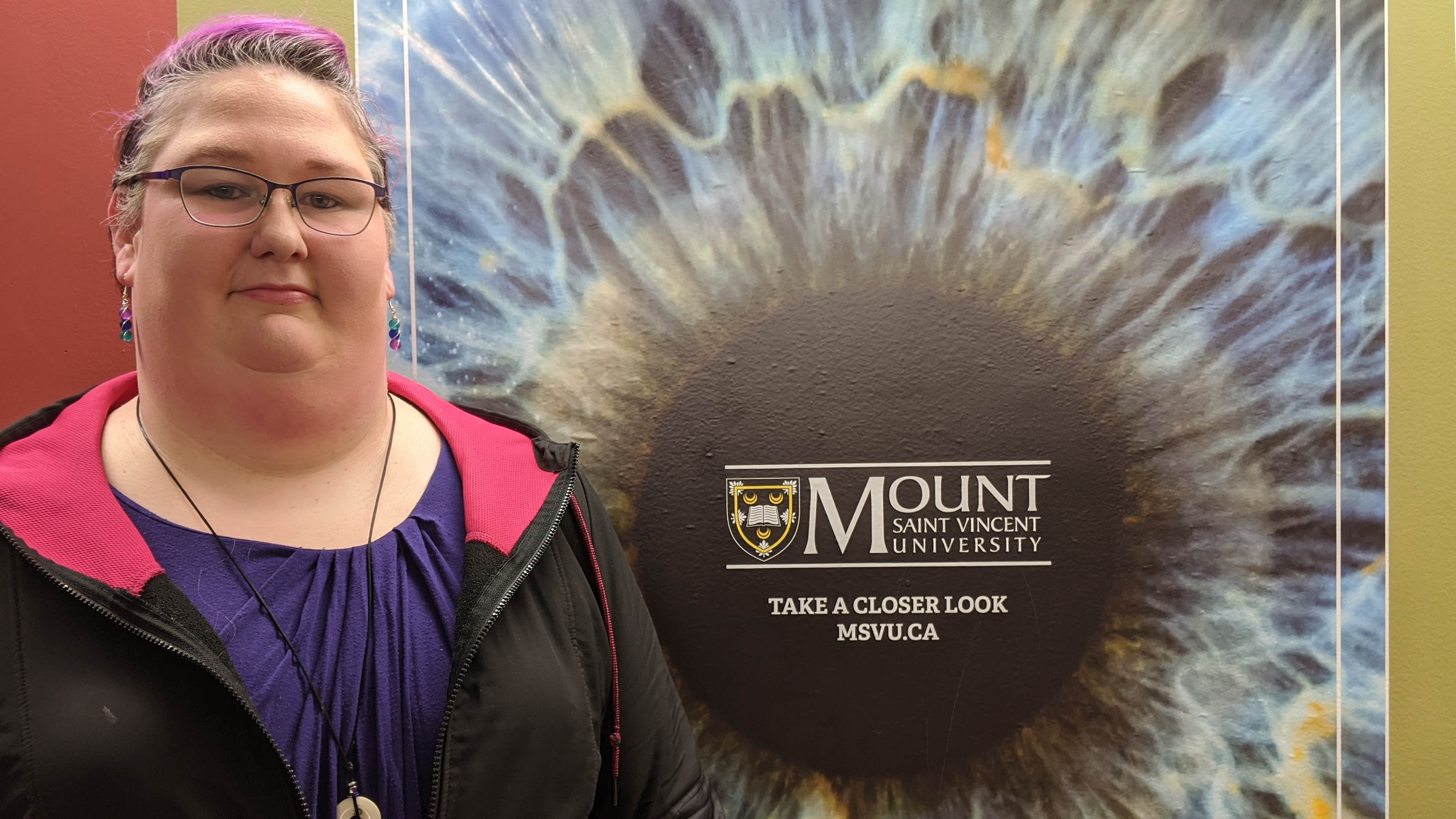 Selina Pottle at MSVU, where she accumulated $70,000 in student debt as a former student.