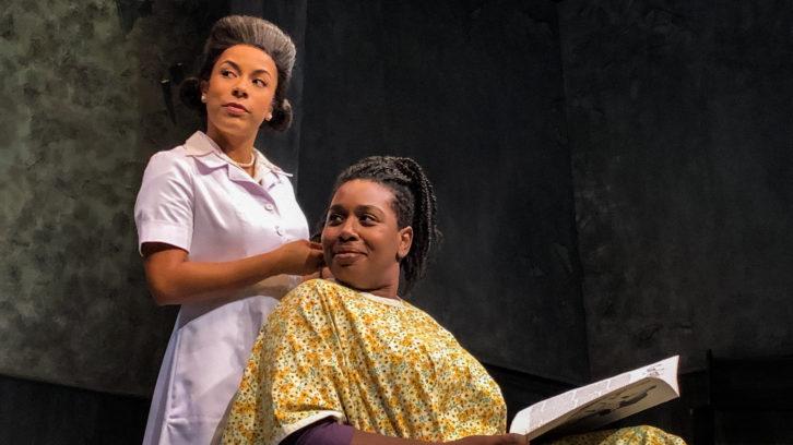 Deborah Castrilli (left), who plays Viola Desmond, in a scene with Meghan Swaby, who plays Rose Reid.