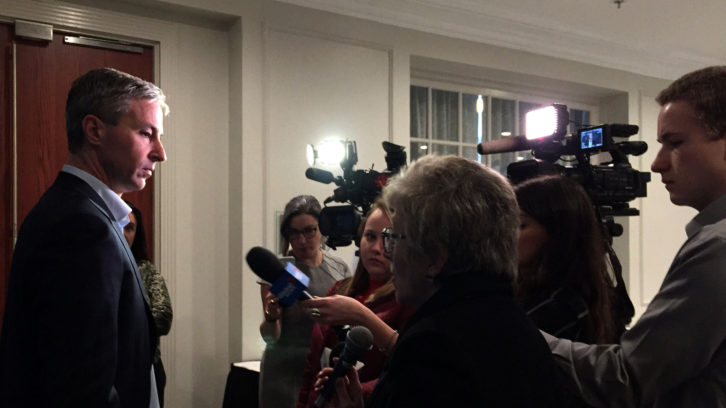 Tim Houston, leader of the Nova Scotia Progressive Conservative Party, speaks to reporters following the announcement.