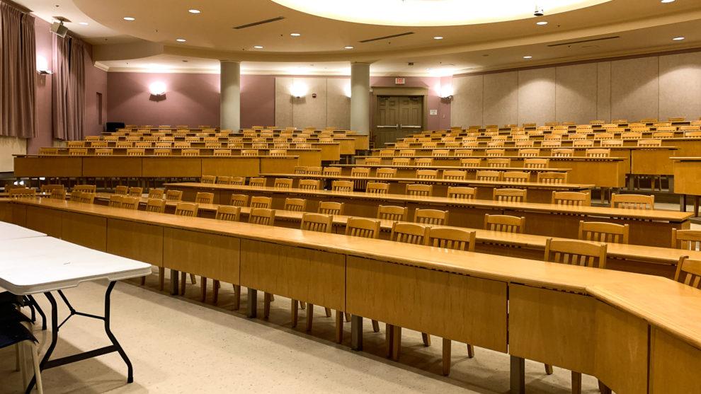An empty Alumni Hall.