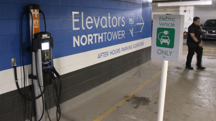 An electric vehicle charging station in the parking garage of the Halifax Convention Centre. Installing these chargers in old and new buildings in HRM will be key to making driving electric a viable option for more HRM residents.