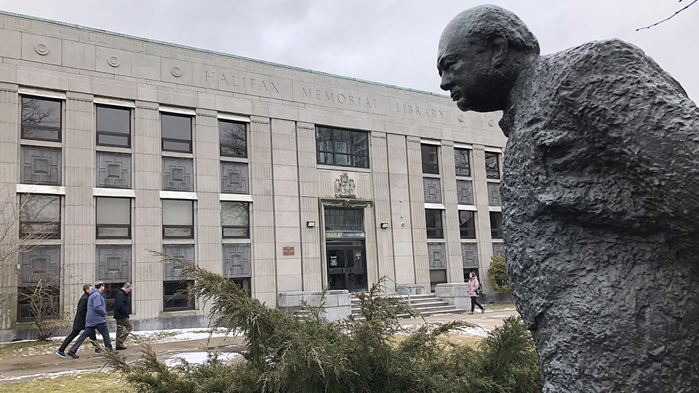 Statue of Winston Churchill in front of the Halifax Memorial Library.