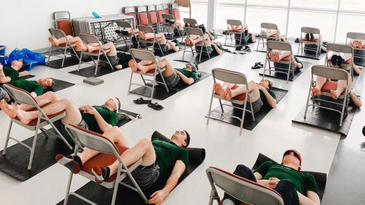 The Halifax Mooseheads do yoga to help with mental and physical relaxation before the playoffs in spring 2019.