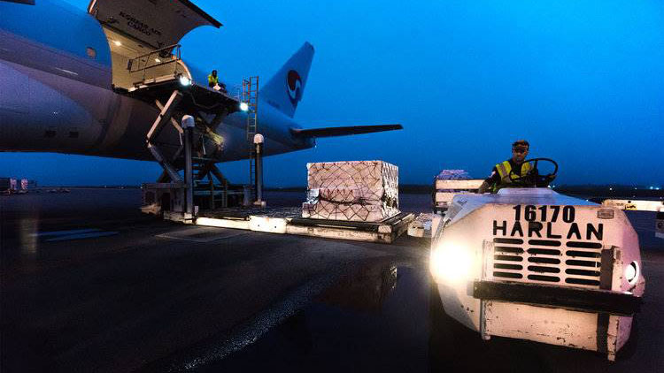 A cargo plane being loaded at the Halifax Stanfield Airport.