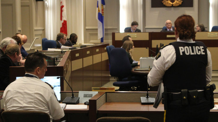 HRP Chief Dan Kinsella (left) and RCMP Chief Superintendent Janis Gray (right) present their budget proposals to Halifax Regional Council Wednesday.
