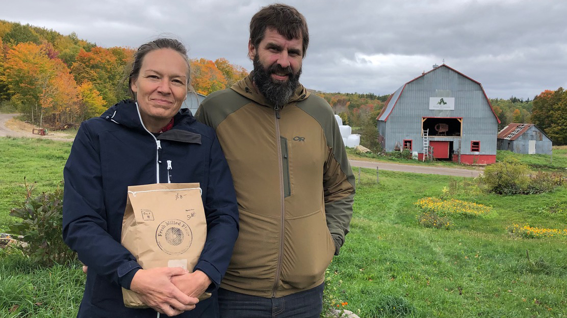 Riley and Gabe Chisholm have added spray-free, stone-milled flour to the list of foods for sale from their sixth-generation farm in Antigonish's Ohio Valley.
